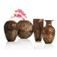 咖啡色现代中式高质琉璃花瓶四件套时尚家居装饰摆设