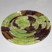 R30 绿色环保钢化玻璃盘,水果盘