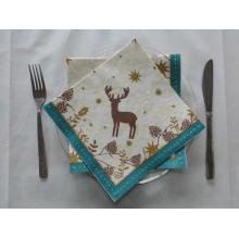 德国进口-Duni杜尼一次性口布/圣诞餐巾纸/蓝色梅花鹿40*40cm